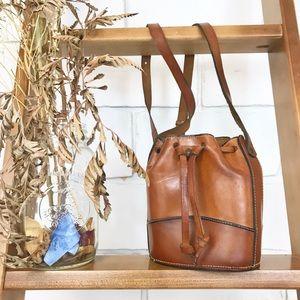 Made in Italy Vintage Leather Bucket Shoulder Bag